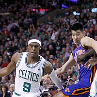 04 March 2012: Boston Celtics point guard Rajon Rondo (9) drives past New York Knicks point guard Jeremy Lin (17) on a screen set by Boston Celtics power forward Kevin Garnett (5) during the first half of Boston Celtics vs the New York Knicks at the TD Garden, Boston, Massachusetts, USA.