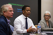 Mahlon Mitchell, center, speaks during the Cap Times Idea Fest 2018 at the Pyle Center in Madison, Wisconsin, Saturday, Sept. 29, 2018.