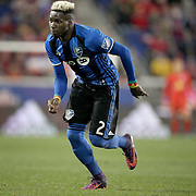 HARRISON, NEW JERSEY- November 06:  Ambroise Oyongo #2 of Montreal Impact during the New York Red Bulls Vs Montreal Impact MLS playoff match at Red Bull Arena, Harrison, New Jersey on November 06, 2016 in Harrison, New Jersey. (Photo by Tim Clayton/Corbis via Getty Images)