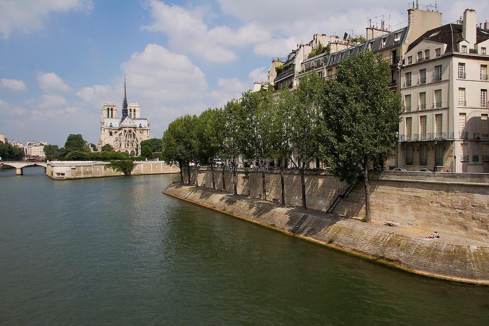 Notre Dame Cathedral, Ile De La Cite and Ile St Louis from the Pont De La Tournelle over the Seine River, Paris, France<br />