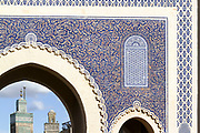 FEZ, MOROCCO - 17th NOVEMBER 2013 - Bab Boujloud / Bab Bou Jeloud, the Blue Gate, old Fez Medina, Middle Atlas Mountains, Morocco.