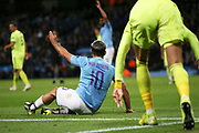 Manchester City forward Sergio Aguero (10) goes down in the box but VAR Jochem Kamphuis (Netherlands) confirms no penalty  during the Champions League match between Manchester City and Dinamo Zagreb at the Etihad Stadium, Manchester, England on 1 October 2019.