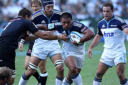 Keven Mealamu (c) of The Blues during the Super15 match between The Mr Price Sharks and The Blues held at Mr Price Kings Park Stadium in Durban on the 26th February 2011..Photo By:  Ron Gaunt/SPORTZPICS