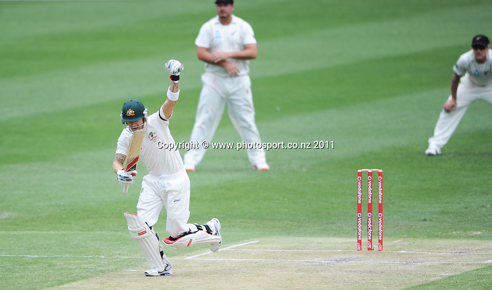Australian captain Michael Clarke celebrates his century on Day 3 of the first cricket test between Australia and New Zealand Black Caps at the Gabba in Brisbane, Thursday 1 December 2011. Photo: Andrew Cornaga/Photosport.co.nz