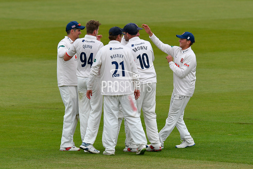 Wicket - Matt Quinn of Essex celebrates taking the wicket of Aiden Markram of Hampshire during the first day of the Specsavers County Champ Div 1 match between Hampshire County Cricket Club and Essex County Cricket Club at the Ageas Bowl, Southampton, United Kingdom on 5 April 2019.