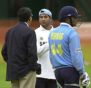 Photo Peter Spurrier.20/06/02.Indian training session at the nets - Lords.Sach Tedulka, chat's with the Indian team manager.. 20020620, India Test Team, Nets, Lords. [Mandatory Credit Peter Spurrier:Intersport Images]