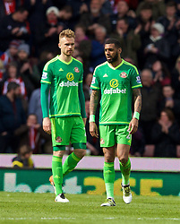 STOKE-ON-TRENT, ENGLAND - Saturday, April 30, 2016: Sunderland's Jan Kirchhoff and Yann M'Vila look dejected as Stoke City score the opening goal during the FA Premier League match at the Britannia Stadium. (Pic by David Rawcliffe/Propaganda)