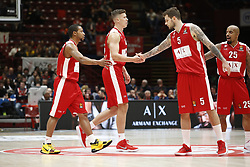 November 9, 2017 - Assago, Milan, Italy - Vladimir Micov (#5 AX Armani Exchange Milan) at dx and Kaleb Tarczewski(#15 AX Armani Exchange Milan) celebrate during a game of Turkish Airlines EuroLeague basketball between  AX Armani Exchange Milan vs Zalgiris Kaunas at Mediolanum Forum on November 9, 2017 in Milan, Italy. (Credit Image: © Roberto Finizio/NurPhoto via ZUMA Press)