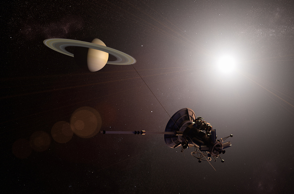 3D rendering of an unmanned spacecraft approaching the planet Saturn