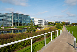 View of landscaped park and modern office buildings at Edinburgh Park a modern business park at South Gyle in Edinburgh, Scotland, United Kingdom.