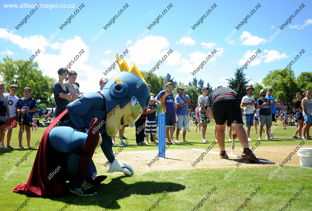 The Otago Volts mascot assess the pitch during the innings change, during the HRV Cup 20/twenty match between the Otago Volts and the Auckland Aces, held at Molyneux Park, 27 December 2013. Credit: Joe Allison / allisonimages.co.nz