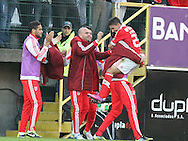 Portugal, FUNCHAL : Benfica's Uruguayan midfielder Urreta  celebrates with his teammates after scoring during the Portuguese league football match Nacional vs Benfica at Madeira Stadium in Funchal on February 10, 2013.  PHOTO/ GREGORIO CUNHA.