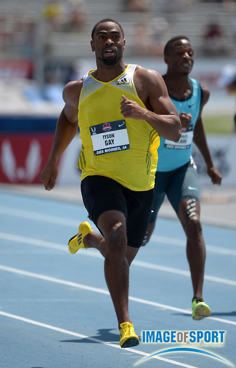 Jun 21, 2013; Des Moines, IA, USA; Tyson Gay wins 200m heat in a wind-aided 20.14 in the 2013 USA Championships at Drake Stadium.