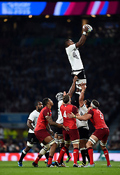 Leone Nakarawa of Fiji rises high to win lineout ball - Mandatory byline: Patrick Khachfe/JMP - 07966 386802 - 18/09/2015 - RUGBY UNION - Twickenham Stadium - London, England - England v Fiji - Rugby World Cup 2015 Pool A.