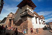 PERU, HIGHLANDS, CUZCO Archbishop's Palace on Inca foundations