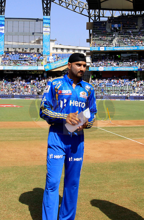 Mumbai Indian captain Harbhajan Singh during the toss for the match 28 of the Indian Premier League ( IPL) 2012  between The Mumbai Indians and the Kings X1 Punjab held at the Wankhede Stadium in Mumbai on the 22nd April 2012..Photo by: Vipin Pawar/IPL/SPORTZPICS