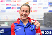 Lara Grangeon (FRA) competes and wins the Bronze medal on Women's 25 kms Open Water final during the Swimming European Championships Glasgow 2018, at Tollcross International Swimming Centre, in Glasgow, Great Britain, Day 11, on August 12, 2018 - Photo Stephane Kempinaire / KMSP / ProSportsImages / DPPI