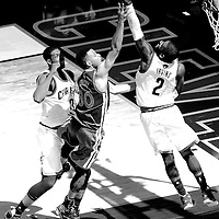10 June 2016: Cleveland Cavaliers guard Kyrie Irving (2) blocks Golden State Warriors guard Stephen Curry (30) layup next to Cleveland Cavaliers center Tristan Thompson (13) during the Golden State Warriors 108-97 victory over the Cleveland Cavaliers, during Game Four of the 2016 NBA Finals at the Quicken Loans Arena, Cleveland, Ohio, USA.