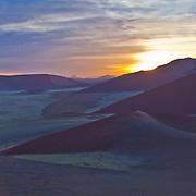 Sossusvlei sunrise atop Dune 45. Namibia.