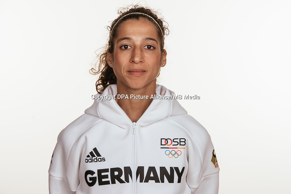 Sanaa Koubaa poses at a photocall during the preparations for the Olympic Games in Rio at the Emmich Cambrai Barracks in Hanover, Germany, taken on 12/07/16 | usage worldwide