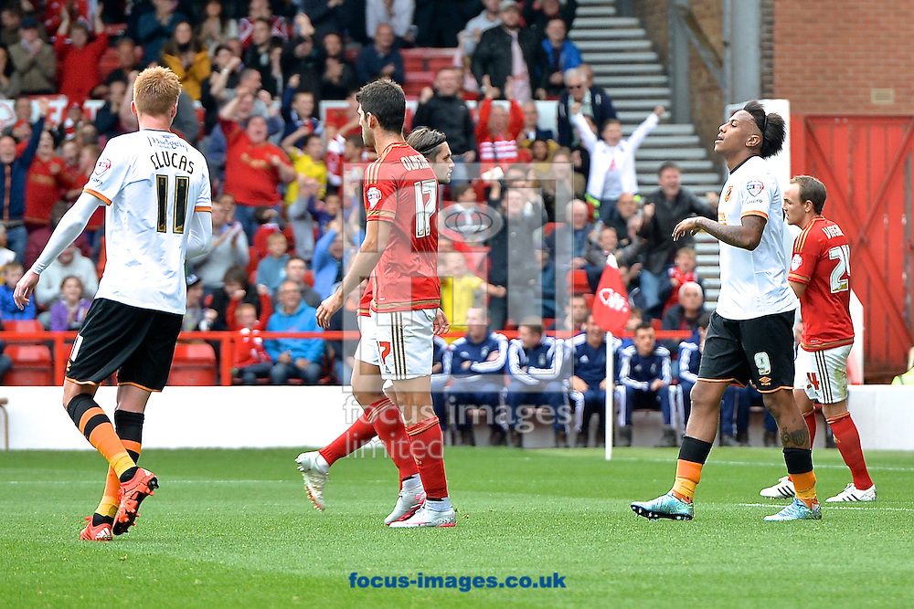 Abel Hern&aacute;ndez of Hull City (2nd right) is disappointed after missing a penalty during the Sky Bet Championship match at the City Ground, Nottingham<br /> Picture by Ian Wadkins/Focus Images Ltd +44 7877 568959<br /> 03/10/2015