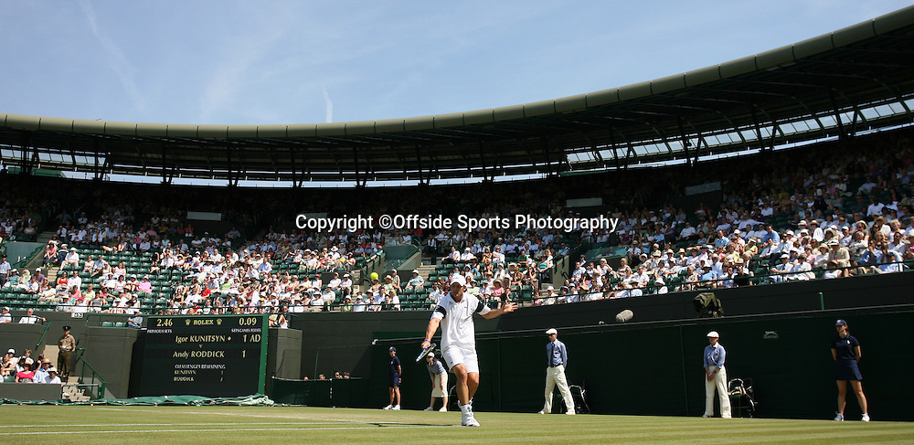 25/06/2008. The All England Lawn Tennis Championships. Andy Roddick plays a shot on Court One during his 2nd round match with Igor Kunitsyn. Wimbledon, UK. Photo: Offside/Steve Bardens.