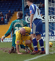 Photo: Paul Greenwood.<br />Bury FC v Wycombe Wanderers. Coca Cola League 2. 17/02/2007. Wycombe's Tommy Mooney, centre, scores past Bury's Andy Warrington, left and Danny Pugh