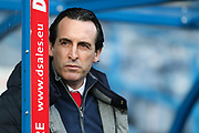 iArsenal Head Coach, Unai Emery before the Premier League match between Huddersfield Town and Arsenal at the John Smiths Stadium, Huddersfield, England on 9 February 2019.