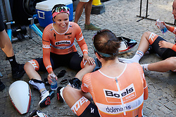 Karol-Ann Canuel (CAN) chats to Guarnier after Giro Rosa 2018 - Stage 1, a 15.5 km team time trial in Verbania, Italy on July 6, 2018. Photo by Sean Robinson/velofocus.com