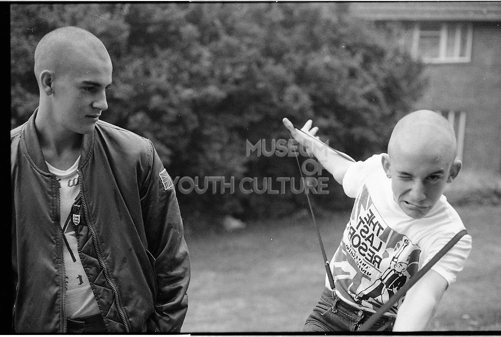 Nev and Lee in the Garden, Hawthorne Road, High Wycombe, UK, 1980s.