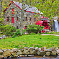The Sudbury Grist Mill Museum in Sudbury Massachusetts photographed on a beautiful day displaying beautiful New England spring colors. Wayside Inn Grist Mill Massachusetts photography pictures are available as museum quality photo, canvas, acrylic, wood or metal prints. Wall art prints may be framed and matted to the individual liking and interior design decoration needs:<br />