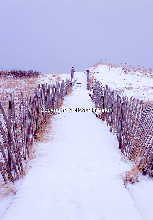 Sandwich Cape Cod, Snowy winter beach path