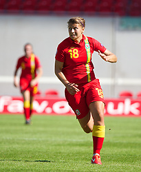 LLANELLI, WALES - Thursday, August 22, 2013: Wales' Emma Jones in action against England during the Group A match of the UEFA Women's Under-19 Championship Wales 2013 tournament at Parc y Scarlets. (Pic by David Rawcliffe/Propaganda)