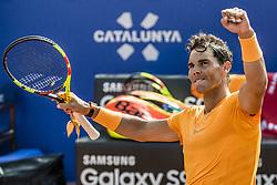 April 25, 2018 - Barcelona, Catalonia, Spain - RAFAEL NADAL (ESP) celebrates his victory against Roberto Carballes Baena (ESP) during Day 3 of the 'Barcelona Open Banc Sabadell' 2018. Nadal won 6-4,6-4 (Credit Image: © Matthias Oesterle via ZUMA Wire)