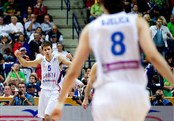 Milenko Tepic of Serbia celebrates during basketball game between National basketball teams of Serbia and Turkey at FIBA Europe Eurobasket Lithuania 2011, on September 11, 2011, in Siemens Arena,  Vilnius, Lithuania. Serbia defeated Turkey 68-67. (Photo by Vid Ponikvar / Sportida)