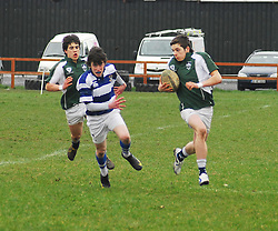 Connacht Junior Schools Rugby.Rice College's Ruairi Keating races in for a try against Garbally...Pic Conor McKeown