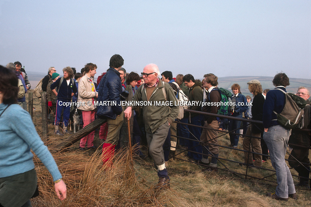 Ramblers taking part in a mass trespass on private moorland in the Peak District National Park.....