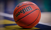 SOUTH BEND, IN - DECEMBER 18: A detail view of a Wilson basketball resting on the court during a timeout during the Notre Dame Fighting Irish and Binghamton Bearcats game at Purcell Pavilion on December 18, 2018 in South Bend, Indiana. (Photo by Michael Hickey/Getty Images)