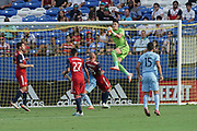 FC Dallas goalkeeper Jesse Gonzales (1) saves a goal shot by NYCFC midfielders Tony Rocha (15) and Valentin Castellanos (11) while FC Dallas players Zdenek Ondrasek (13), Jesus Ferreira (27) and Ryan Hollingshead (12) assist in a MLS soccer game, Sunday, Sept. 22, 2019, in Frisco, Tex. FC Dallas and New York FC draw 1-1 (Wayne Gooden/Image of Sport)