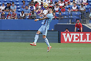 NYFC forward Valentin Castellanos (11) heads a goal kick during a MLS soccer game against FC Dallas, Sunday, Sept. 22, 2019, in Frisco, Tex. FC Dallas and New York FC draw 1-1 (Wayne Gooden/Image of Sport)