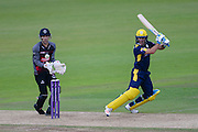 Will Smith of Hampshire and Ryan Davies of Somerset during the Royal London One Day Cup match between Hampshire County Cricket Club and Somerset County Cricket Club at the Ageas Bowl, Southampton, United Kingdom on 2 August 2016. Photo by David Vokes.