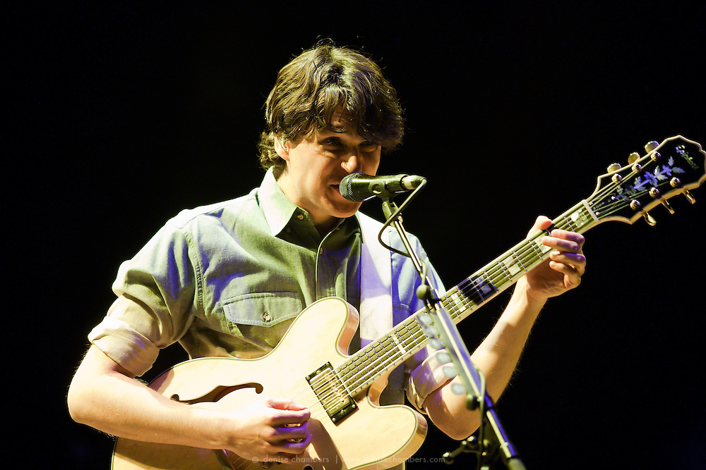 "Ezra Koenig of Vampire Weekend performs on September 3, 2010 in support of ""Contra"" at Red Rocks Amphitheater in Morrison, Colorado."