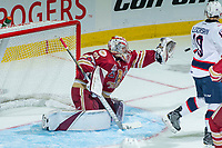REGINA, SK - MAY 20: Evan Fitzpatrick #31 of Acadie-Bathurst Titan makes a glove save against the Regina Pats during second period at the Brandt Centre on May 20, 2018 in Regina, Canada. (Photo by Marissa Baecker/CHL Images)