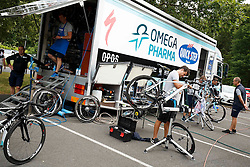 An Omega Pharma Quick Step mechanic works on the Specialized CVNDSH Venge of Mark Cavendish at Rudding park near Harrogate, location of the teams Hotel - Photo mandatory by-line: Rogan Thomson/JMP - 07966 386802 - 04/07/2014 - SPORT - CYCLING - Harrogate, Yorkshire - Le Tour de France Grand Depart Previews.