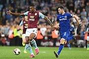 Aston Villa striker Wesley (9) under pressure from Everton defender Michael Keane (5) during the Premier League match between Aston Villa and Everton at Villa Park, Birmingham, England on 23 August 2019.