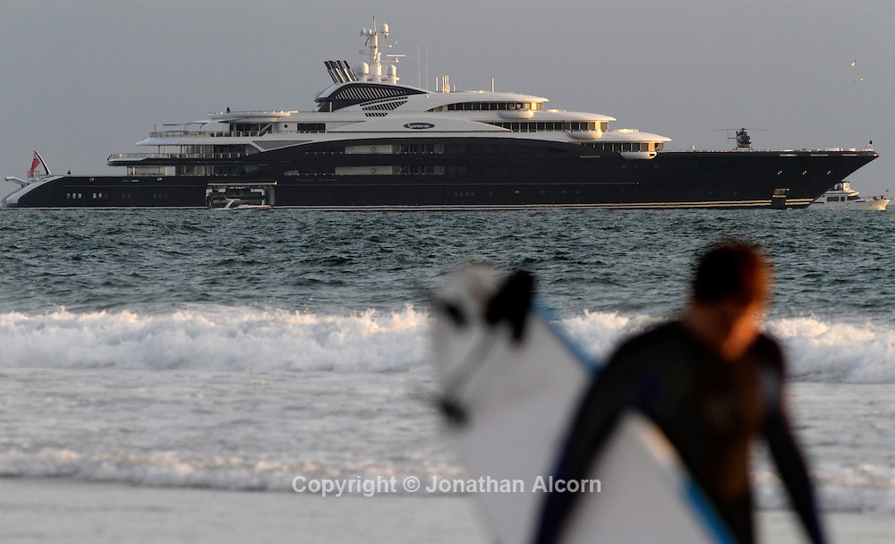 Super luxury yacht. the Serene, an Italian-built yacht reportedly owned by Russian vodka tycoon Yuri Scheffler and is reportedly one of the 10 largest yachts in the world at nearly 440 feet long, is currently moored off Venice Beach, California