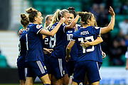 Claire Emslie (#18) of Scotland celebrates Scotland's first goal (1-0) during the Women's Euro Qualifiers match between Scotland Women and Cyprus Women at Easter Road, Edinburgh, Scotland on 30 August 2019.