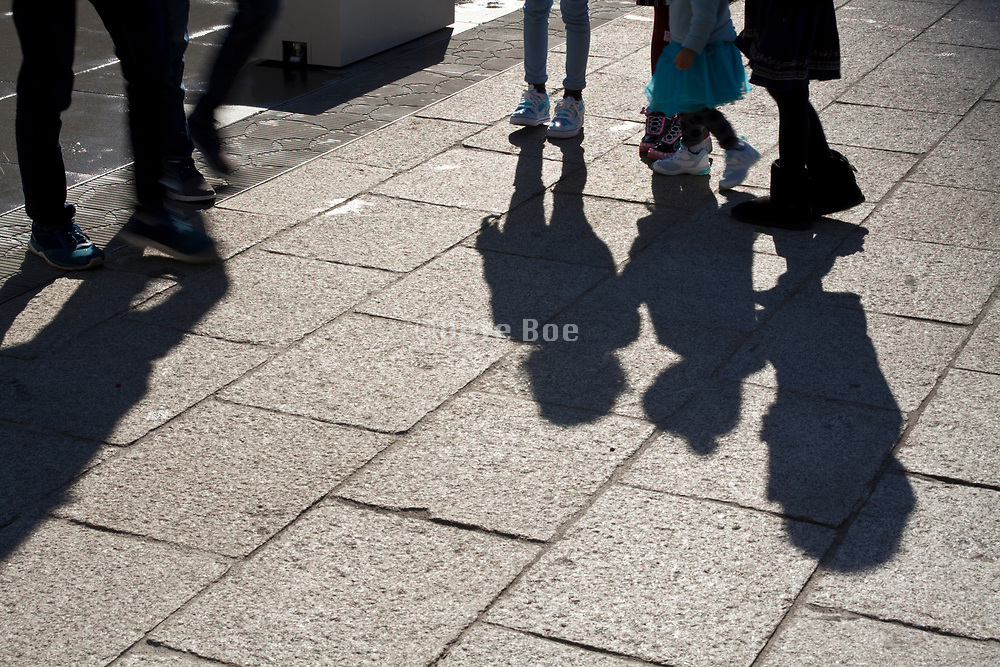 shadow of little and larger children
