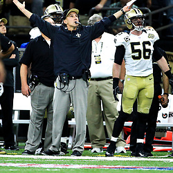 Sep 11, 2016; New Orleans, LA, USA;  New Orleans Saints defensive coordinator reacts after a penalty is called against linebacker Craig Robertson (not pictured) on a fourth down play during the fourth quarter of a game at the Mercedes-Benz Superdome. The Raiders defeated the Saints 35-34. Mandatory Credit: Derick E. Hingle-USA TODAY Sports