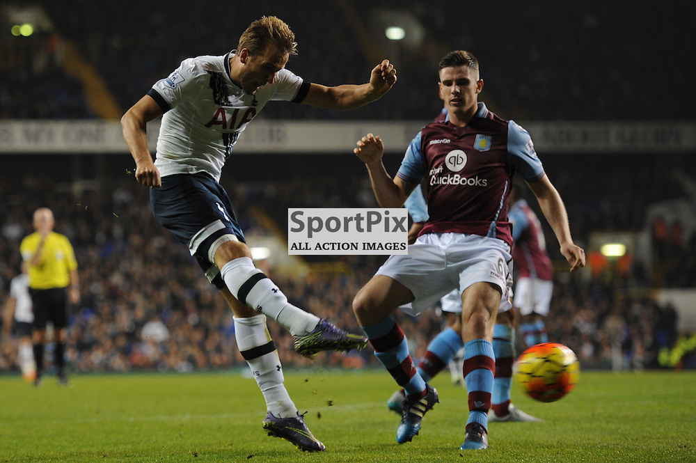 Tottenhams Harry Kane gets a shot away during the Tottenham v Aston Villa match in the Barclays Premier League on the 2nd November 2015